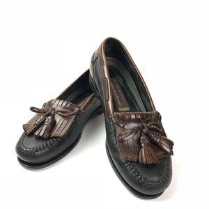 Johnston & Murphy green & brown tassel loafers